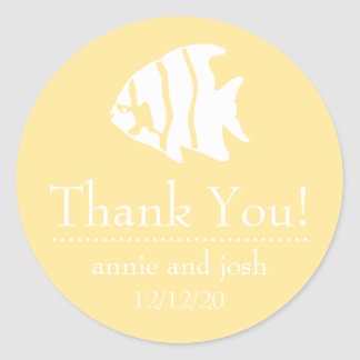 Angel Fish Thank You Labels (Yellow Gold / White) Classic Round Sticker