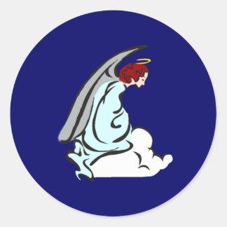 Angel fishing rod round sticker