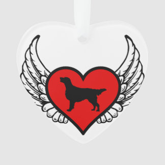 Angel Flat-Coated Retriever dog winged Heart