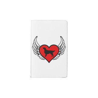 Angel Flat-Coated Retriever dog winged Heart Pocket Moleskine Notebook Cover With Notebook