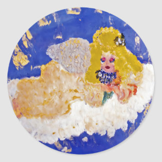 Angel Floating on the Clouds Designer Art Classic Round Sticker