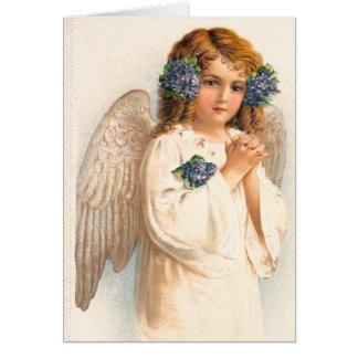 Ángel floral del vintage tarjeta de felicitación