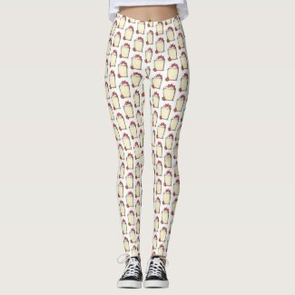 Angel Food Angelfood Cake Slice Strawberry Dessert Leggings
