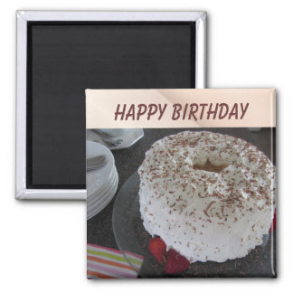 Angel Food  Birthday Cake 2 Inch Square Magnet