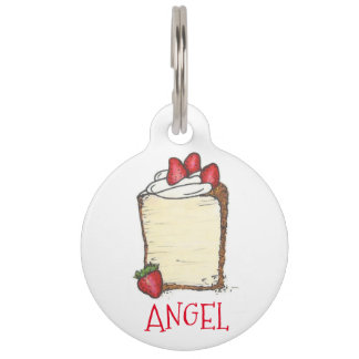 Angel Food Cake Slice Strawberry Foodie Dog Tag