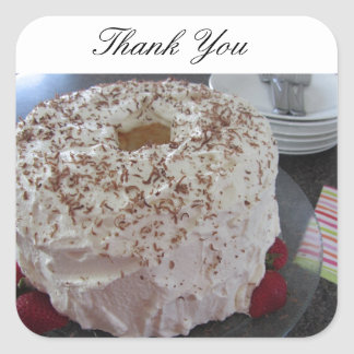 Angel Food Cake Thank You Square Sticker