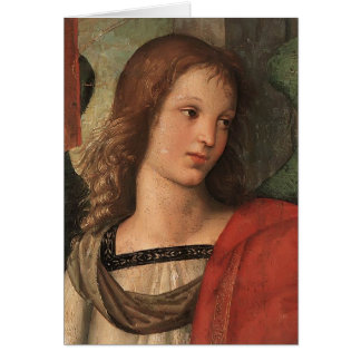 Angel (fragment of Baronci altarpiece) by Raphael Greeting Card