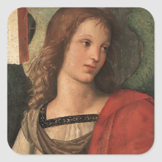 Angel (fragment of Baronci altarpiece) by Raphael Square Sticker