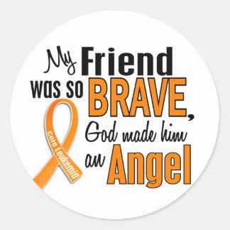 Angel Friend (Male) Leukemia Round Stickers