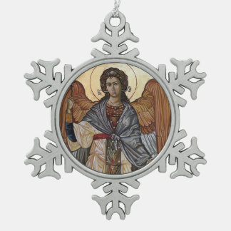 Angel Gabriel Snowflake Pewter Christmas Ornament