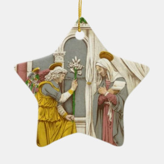Angel Gabriel The Annunciation To Mary Double-Sided Star Ceramic Christmas Ornament