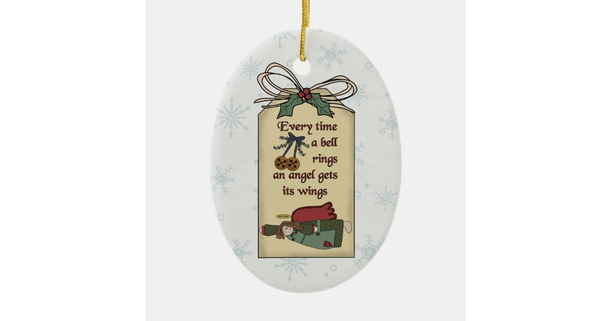 Angel Gets Its Wings Gift Tag Ornament Zazzle Com
