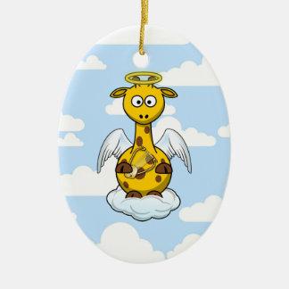 Angel Giraffe in Clouds Ceramic Ornament
