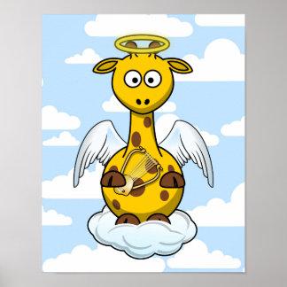 Angel Giraffe in Clouds Poster