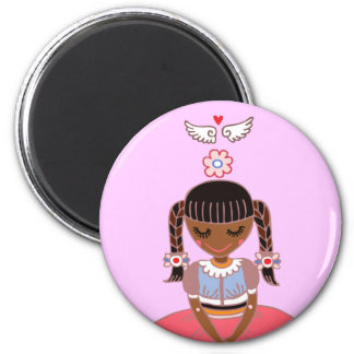 Angel Girl (Afro) 2 Inch Round Magnet