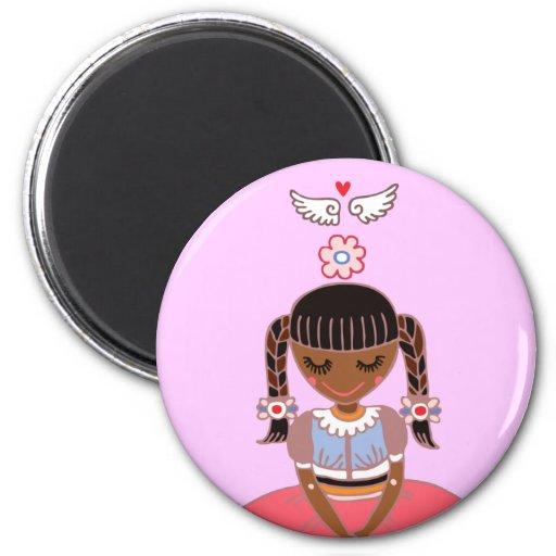 Angel Girl (Afro) Refrigerator Magnet