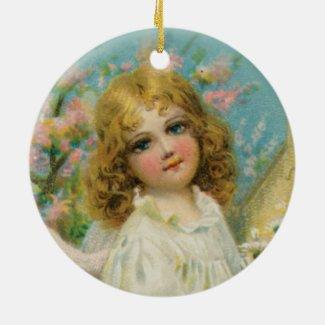 Angel Girl in White Vintage Style Art Ornament