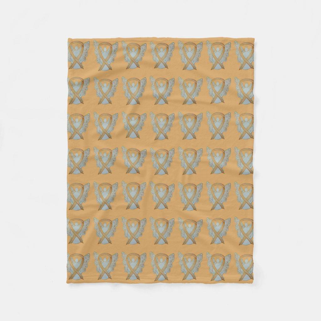 Angel Gold Awareness Ribbon Soft Blankets