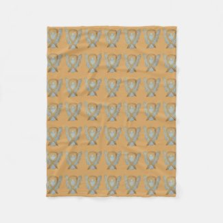 Angel Gold Awareness Ribbon Soft Blankets