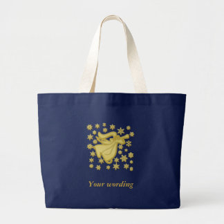 Angel gold snowflake faith large tote bag