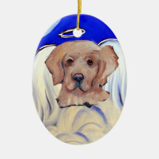 Angel Golden Retriever Ceramic Ornament