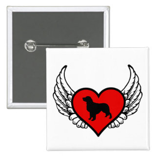 Angel Golden Retriever Silhouette in winged Heart 2 Inch Square Button