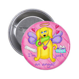 Angel Golden Yellow Dog with Shoe 2 Inch Round Button