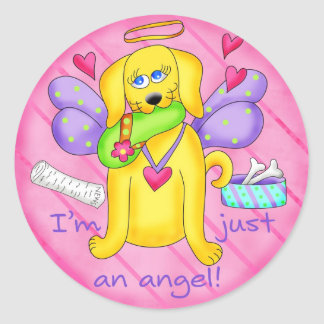 Angel Golden Yellow Dog with Shoe Classic Round Sticker