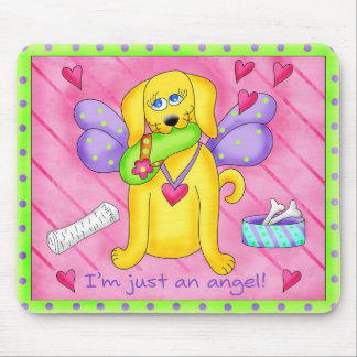 Angel Golden Yellow Dog with Shoe Mouse Pad