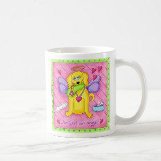 Angel Golden Yellow Dog with Shoe Coffee Mug