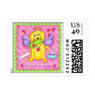 Angel Golden Yellow Dog with Shoe Postage