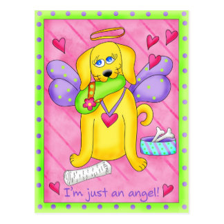 Angel Golden Yellow Dog with Shoe Postcard