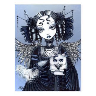 Ángel gótico del gato persa del Victorian de Postal