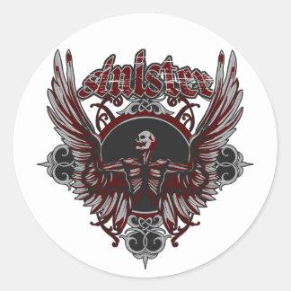 Ángel gótico siniestro con las alas pegatina redonda