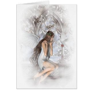 Ángel gótico y su ilustración de la paloma tarjeta de felicitación