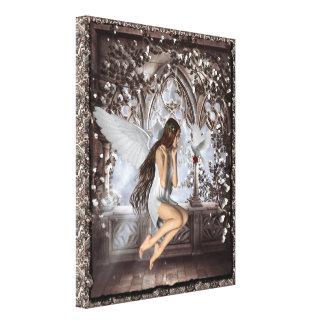 Ángel gótico y su lona envuelta paloma impresión de lienzo