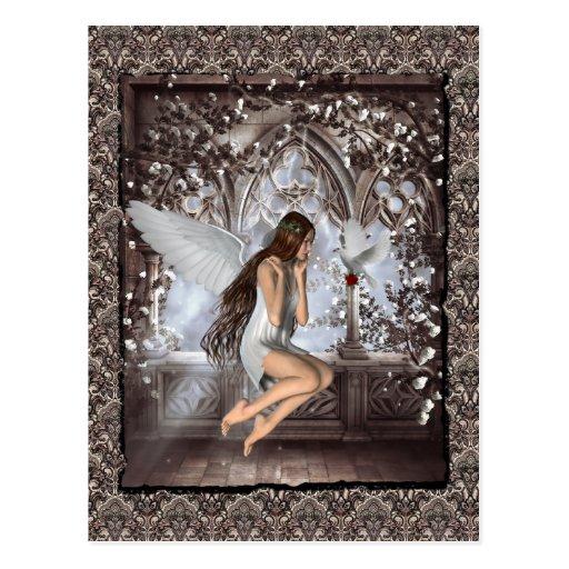 Ángel gótico y su paloma postal
