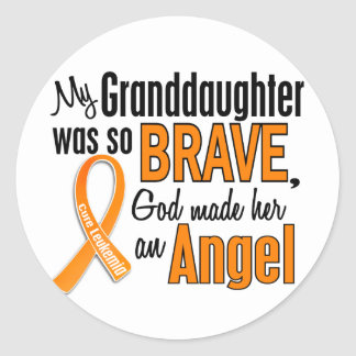 Angel Granddaughter Leukemia Classic Round Sticker