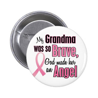 Angel GRANDMA Breast Cancer T-Shirts & Apparel Pinback Button