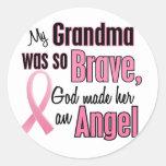 Angel GRANDMA Breast Cancer T-Shirts & Apparel Round Sticker
