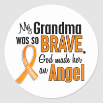 Angel Grandma Leukemia Classic Round Sticker