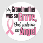 Angel GRANDMOTHER Breast Cancer T-Shirts & Apparel Classic Round Sticker
