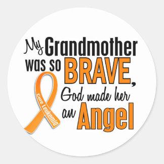 Angel Grandmother Leukemia Classic Round Sticker