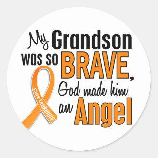 Angel Grandson Leukemia Classic Round Sticker