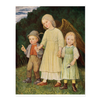 Angel guardian angel and two children postcard