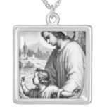Angel Guarding A Child Square Pendant Necklace