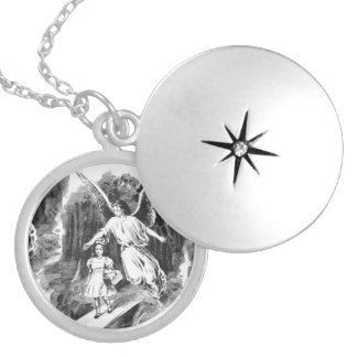 Angel Guarding A Girl Child Locket Necklace