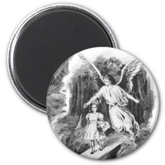 Angel Guarding A Girl Child 2 Inch Round Magnet