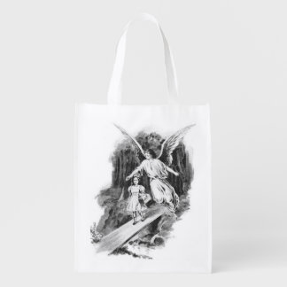 Angel Guarding A Girl Child Reusable Grocery Bag