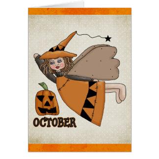 Ángel Halloween de octubre tarjeta de cumpleaños